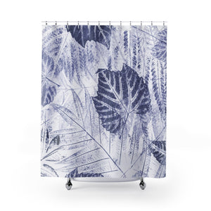 Deep Blue New England Woodland Leaves Large-Scale Ecoprint Print Shower Curtain - Metro Shower Curtains