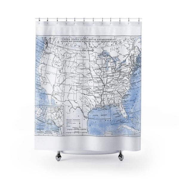 Vintage Lighthouse Map - USA -  Shower Curtain Blue and White