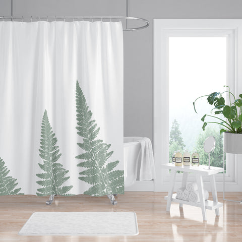Green Woodland Ferns Spa Shower Curtain - Metro Shower Curtains