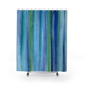 Underwater Blue Green Watercolor Reeds / Stripes Shower Curtain - Metro Shower Curtains
