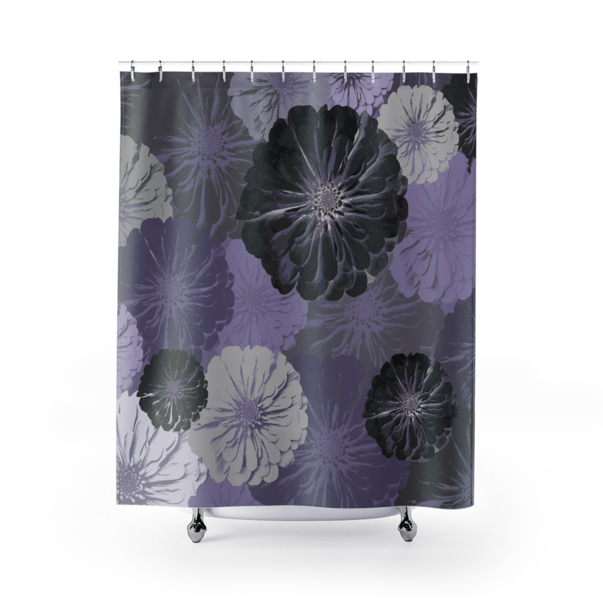 Purple and Gray Floral Print Shower Curtain - Metro Shower Curtains