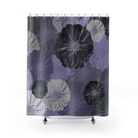 Purple and Gray Floral Shower Curtain