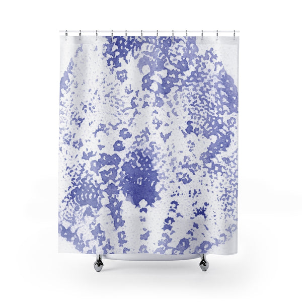 Boho Periwinkle Violet Blue Watercolor Lace Print Shower Curtain