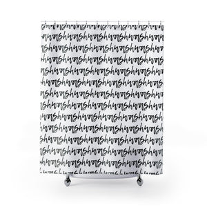 "Cursive Text ""Wash"" on Repeat in Subtle Black and White Hand-Letter-Styled Stripes - Metro Shower Curtains"