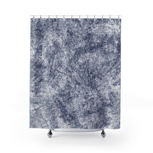 Navy Blue Farmhouse Distressed Shower Curtain