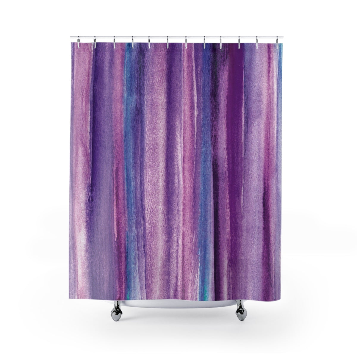 Purple Watercolor Stripes Abstract Art Print Shower Curtain - Metro Shower Curtains