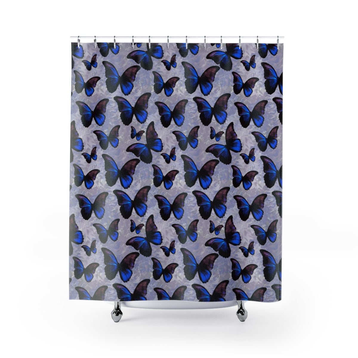 Purple and Blue Morpho Butterfly Shower Curtain - Metro Shower Curtains