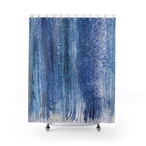 Dark Blue Abstract Watercolor Stripes / Contemporary Coastal Shower Curtain - Metro Shower Curtains