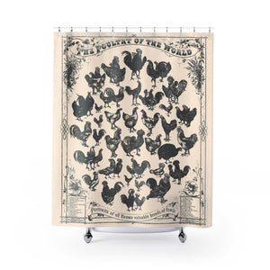 Farmhouse Chicken Vintage Print Beige on Cream Shower Curtain - Metro Shower Curtains