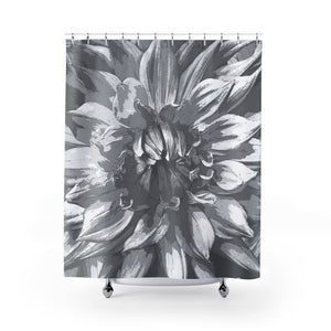Gray / Black Dahlia Giant Flower Shower Curtain - Metro Shower Curtains