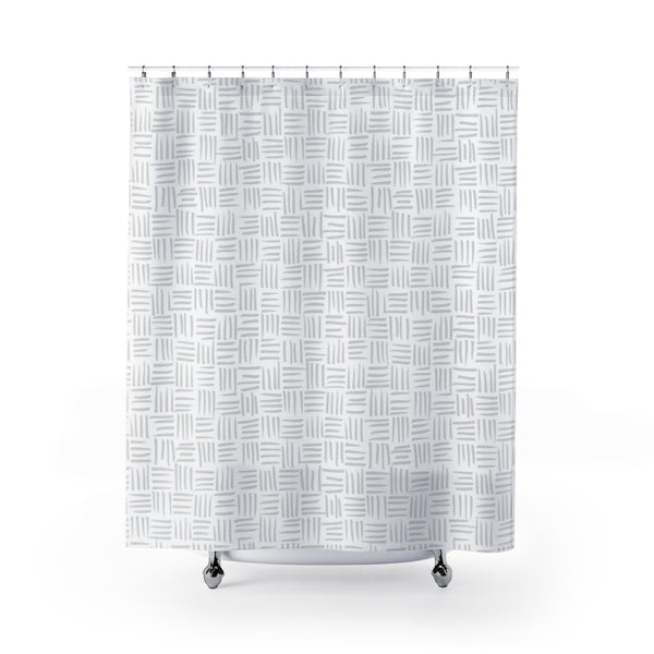White and Beige Basketweave Pattern - Metro Shower Curtains