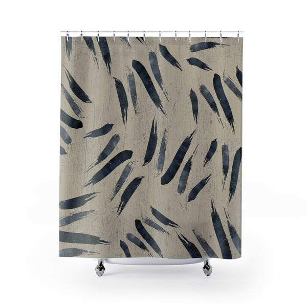 indigo blue watercolor japanese print shower curtain