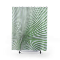 Palm Leaf Radial Lines Green Shower Curtain Art