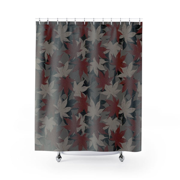maroon shower curtain dark leaf pattern