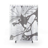 Gray giant linden branch modern art print shower curtain