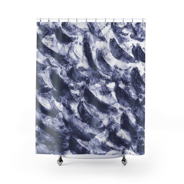 Navy Blue Dark Indigo Water Art Shower Curtain