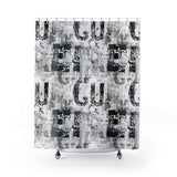industrial decor shower curtain black and white