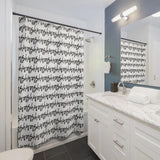 "Cursive Text ""Wash"" Stripes in Black on White Shower Curtain in a Repeating Pattern"