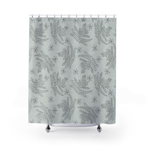 Ferns and Flowers Doodle Print Shower Curtain - Metro Shower Curtains