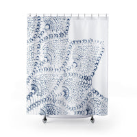 Indigo and White Boho Chic Peacock Lace Shower Curtain
