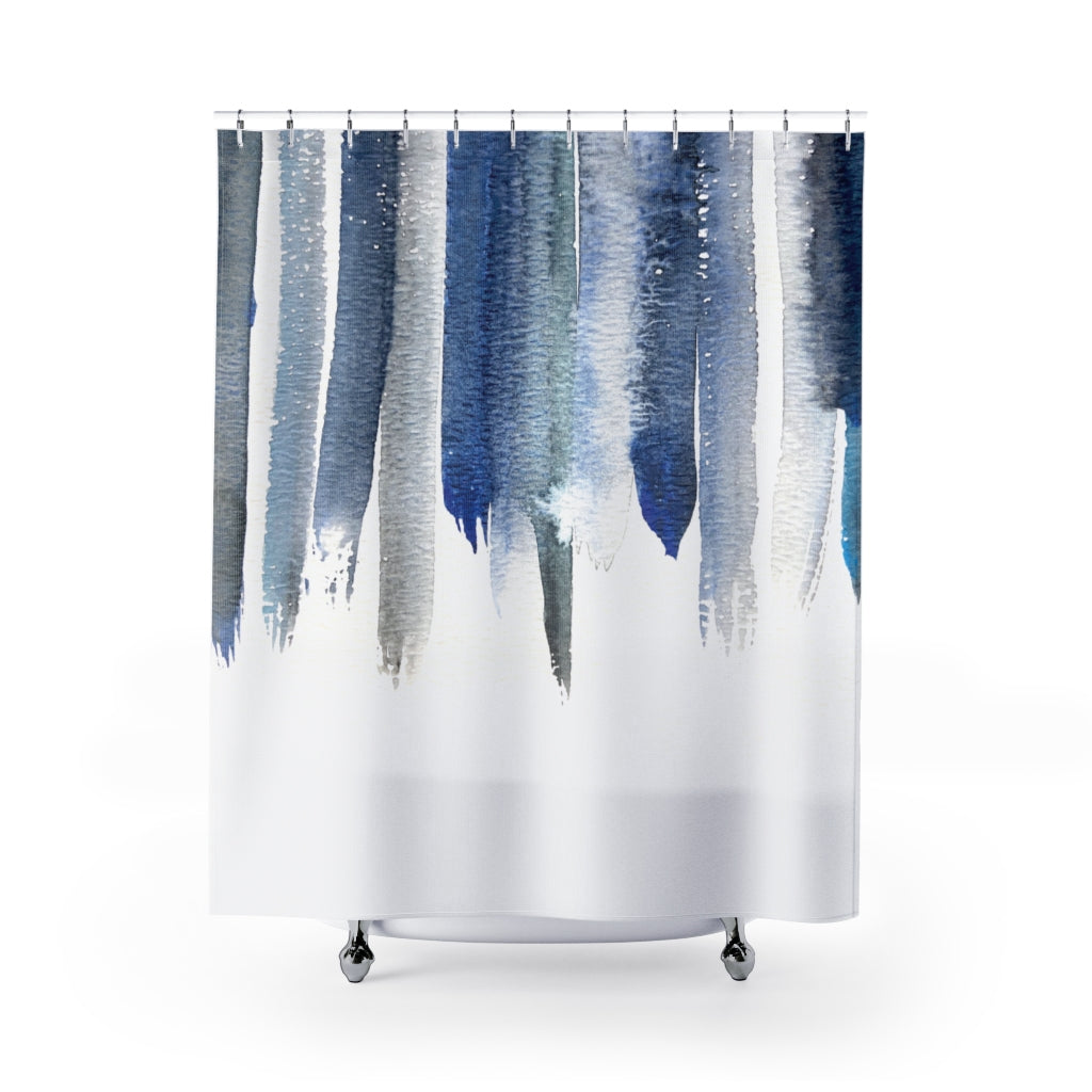 Deep Blue Watercolor Drops on White Abstract Contemporary Shower Curtain - Metro Shower Curtains