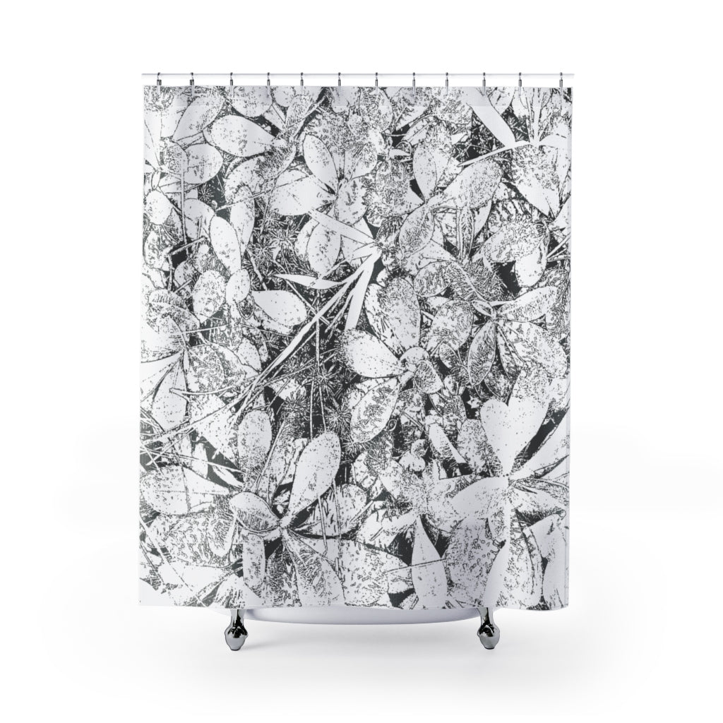 Woodland Carpet / Black and White Leaves, Large Scale  Contemporary Photo Art Shower Curtain - Metro Shower Curtains