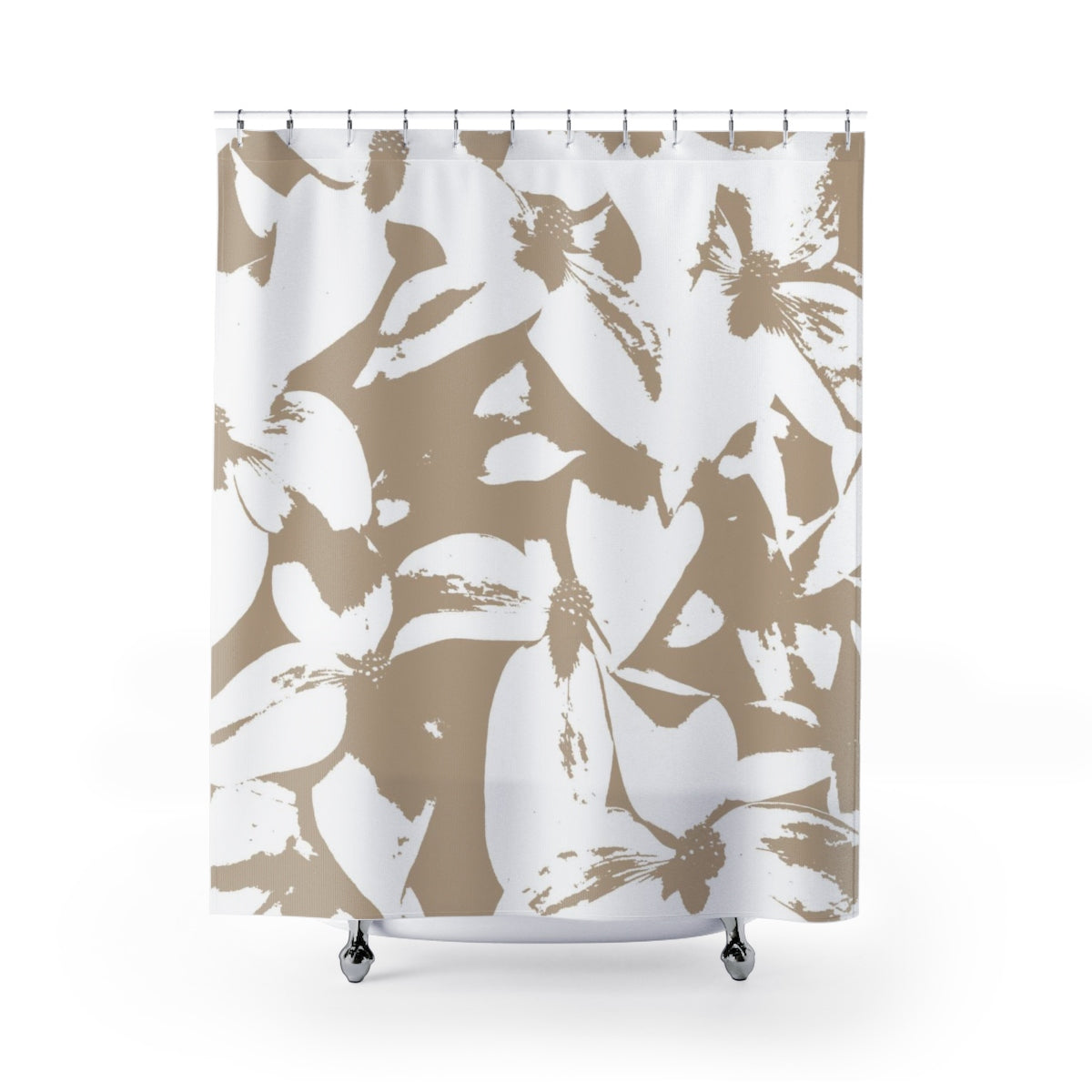 Kousa Dogwood Large-Format Contemporary Art Print in Monochromatic Beige Shower Curtain - Metro Shower Curtains