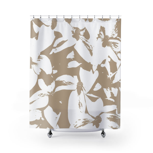 Neutral Kousa Dogwood Flower Fabric Shower Curtain