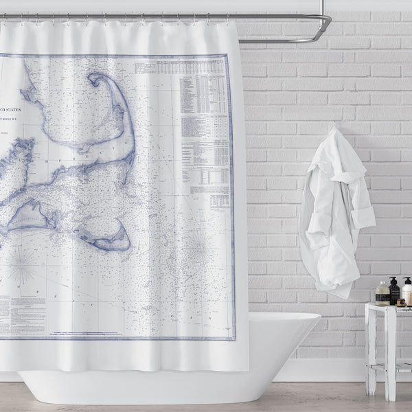 Vintage Cape Cod, Martha's Vineyard, Nantucket and South Massachusetts Seacoast Map / Nautical Chart in Blue and White Fabric Shower Curtain - Metro Shower Curtains