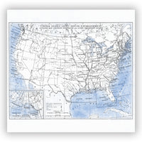 Vintage USA Lighthouse Map Shower Curtain - Blue and White