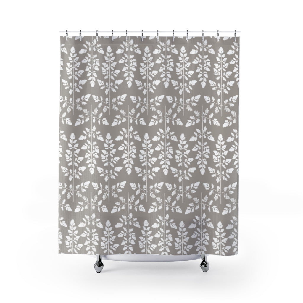 Gray and White Damask Style Geometric Leaf Pattern Shower Curtain - Metro Shower Curtains