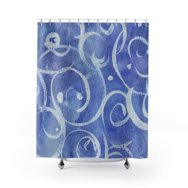 Blue Watercolor & Spirals Underwater Art Shower Curtain