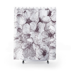 Apple Blossom Shower Curtain, Muted Raspberry Pink - Metro Shower Curtains