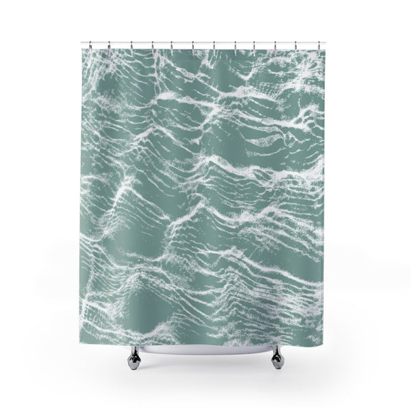 Aqua Green Water Print Shower Curtain