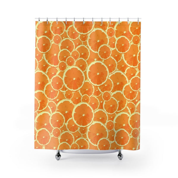Oranges Citrus Mod Print Shower Curtain - Pattern of Orange Slices, Fun Bathroom Decor - Metro Shower Curtains