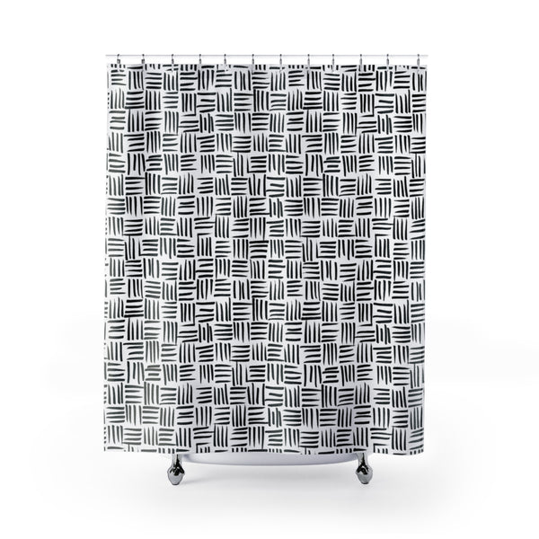 Black and White Basket Weave Pattern Shower Curtain - Metro Shower Curtains
