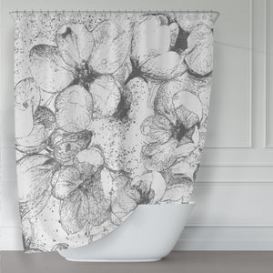 Apple Blossom Shower Curtain, Large-Scale, Gray Sketch Style - Metro Shower Curtains