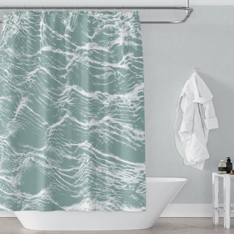 Aqua Green Large-Scale Abstract Water Print Shower Curtain for Contemporary Beach Bathroom - Metro Shower Curtains