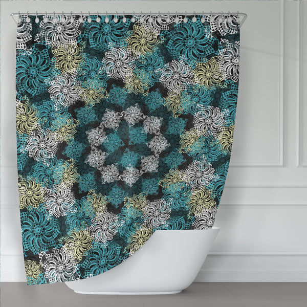 Black Turquoise and Yellow Modern Boho Lace Mandala Shower Curtain - Metro Shower Curtains