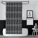Black and White Astilbe Leaf / Natural Geometric Pattern Shower Curtain
