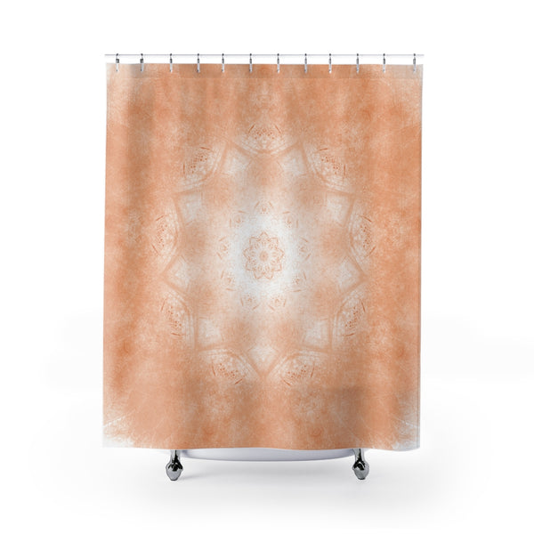 peachy orange mandala shower curtain