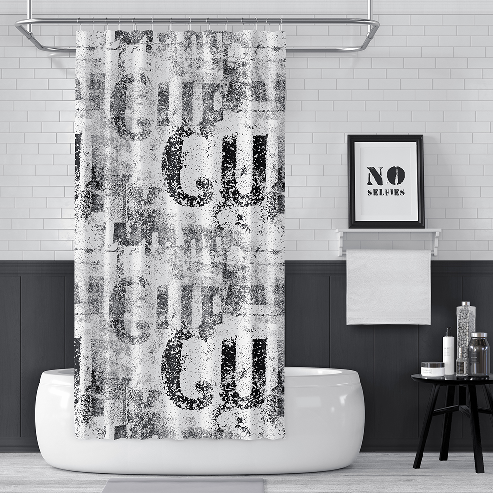 Black and White Vintage Distressed Letters Shower Curtain - Metro Shower Curtains