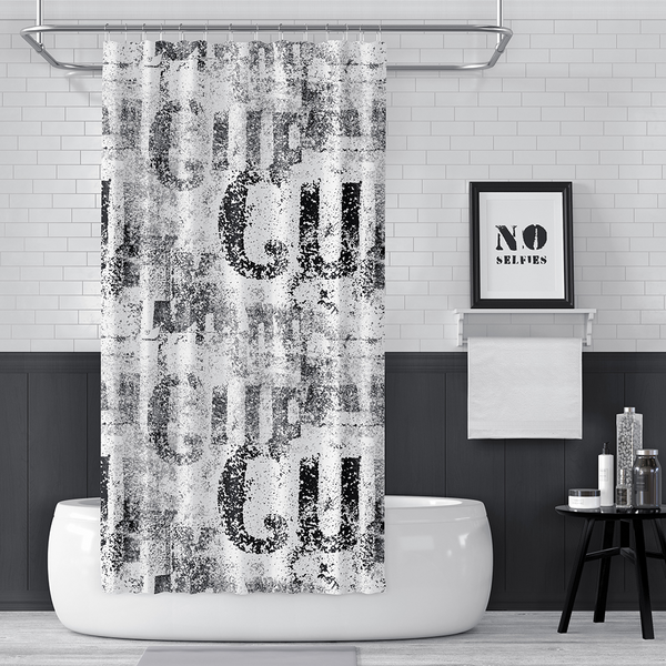 Black and White Steampunk Letter Print Shower Curtain