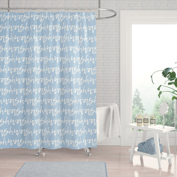 "Baby Blue ""Wash"" Words in White Cursive Calligraphy Typographic Stripes Shower Curtain - Metro Shower Curtains"