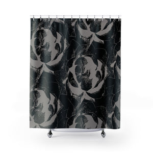 Black and Gray Fabric Shower Curtain - Giant Pop Art Roses Lino Print Style Shower Curtain - Metro Shower Curtains