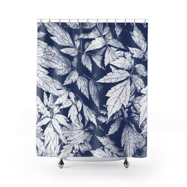 Cobalt Blue & White Jungle Leaves Large Scale Art Print Shower Curtain - Metro Shower Curtains