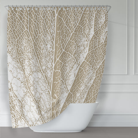 Neutral Tan / Beige & White Leaf Detail Shower Curtain - Metro Shower Curtains