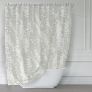 Beige and White Light Fern Texture Pattern Fabric Shower Curtain - Metro Shower Curtains