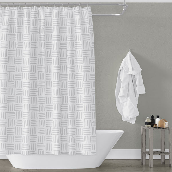 Light Gray on White Basketweave Pattern - Metro Shower Curtains