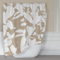 Beige Kousa Dogwood Floral Shower Curtain